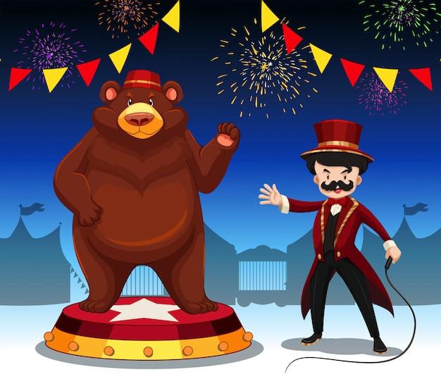 Ring master e urso no show de circo Vetor grátis