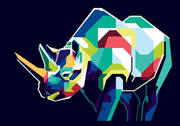Rinoceronte colorido Vetor Premium