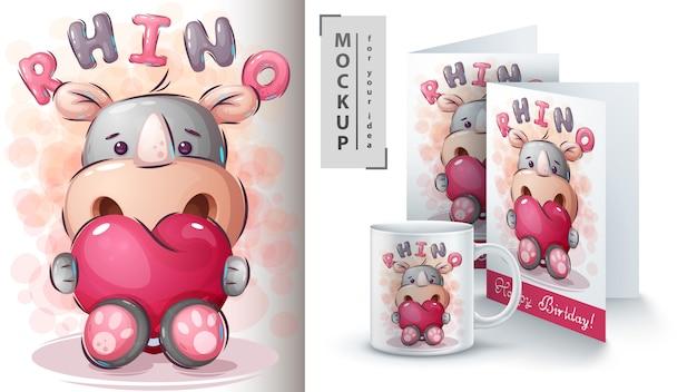Rinoceronte com poster de coração e merchandising. Vetor Premium