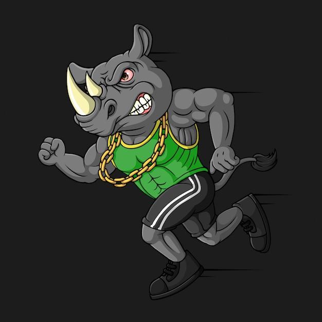 Rinoceronte com raiva, mão desenhada, vetor Vetor Premium