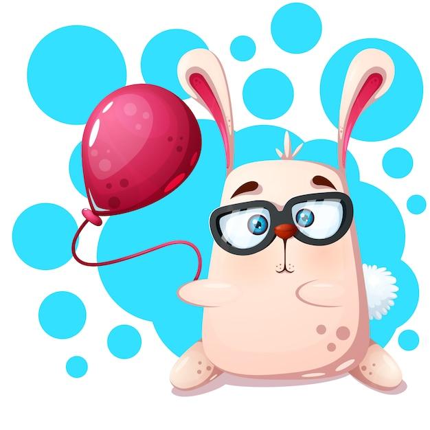 Rinoceronte de coelho com balão Vetor Premium