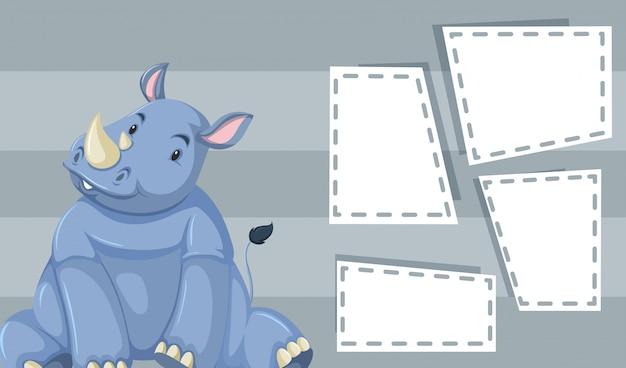 Rinoceronte fofo cinzento com quadros de copyspace Vetor grátis