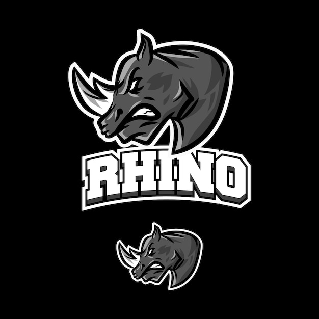 Rinoceronte logotipo mascote esports jogos Vetor Premium
