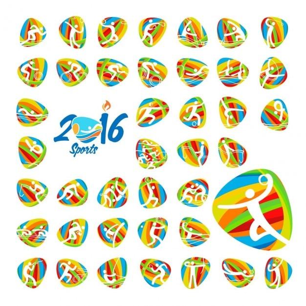 Rio 2016 jogos olímpicos de verão ícones do esporte definir Vetor grátis