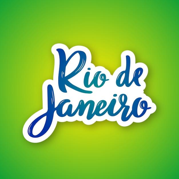 Rio de janeiro - mão desenhada rotulação nome da cidade do brasil. Vetor Premium