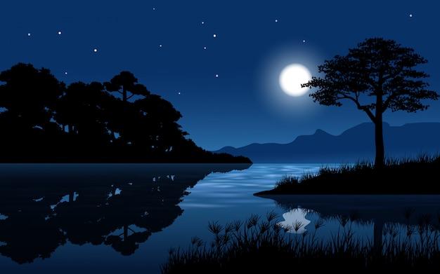 Rio na paisagem da floresta com lua e estrelas Vetor Premium