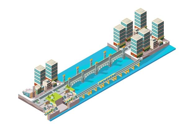 Rio urbano. paisagem da cidade com prédios baixos e viaduto isométrico de ponte Vetor Premium