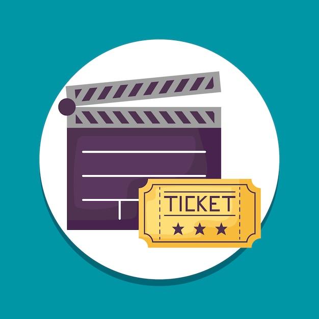 Ripa de cinema com ícones de bilhetes Vetor Premium