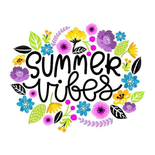 Ritmo de verão. mão escrita moderna rotulação postal. ilustração floral digital. Vetor Premium