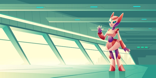 Robô alienígena recebendo os hóspedes na nave espacial Vetor grátis