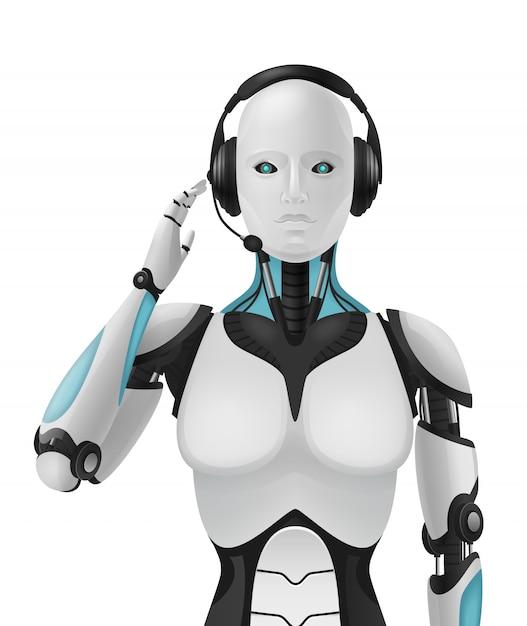 Robô android realista composição 3d com agente de suporte artificial máquina antropomórfica cibernética com aparência feminina Vetor grátis