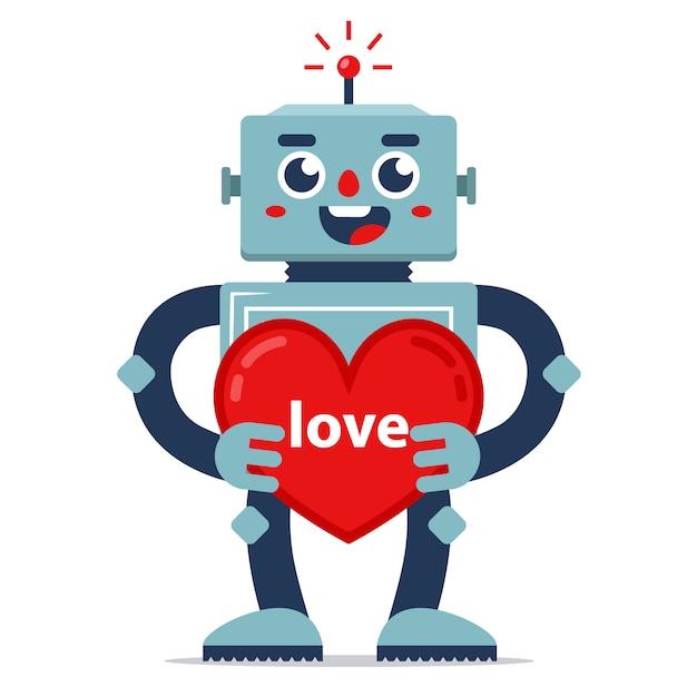 Robô bonitinho dá dia dos namorados. declaração de amor. inteligência artificial. relacionamento no futuro. Vetor Premium