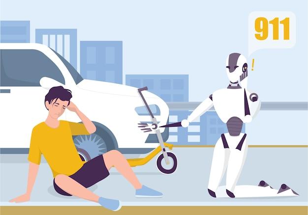 Robô chamando uma ambulância para ajudar um homem. serviço de inteligência artificial e tratamento médico futurista. robô pessoal doméstico para o conceito de assistência de pessoas. Vetor Premium
