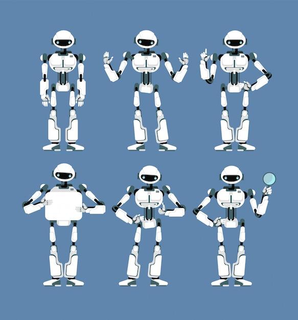 Robô cibernético android com braços biônicos e olhos em poses diferentes Vetor Premium