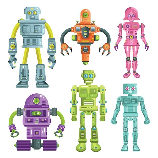 Robô colorido e coleção de personagens android Vetor Premium