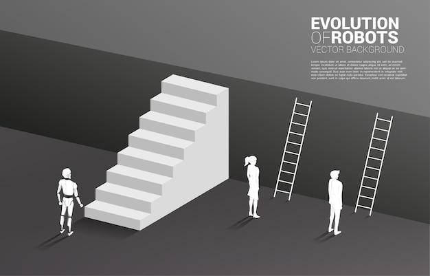 Robô com escada e empresário com escada para ir ao andar superior. conceito de negócio para aprendizado de máquina e ia artificial intelligence.human vs. robô. Vetor Premium