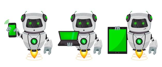 Robô com inteligência artificial, bot Vetor Premium
