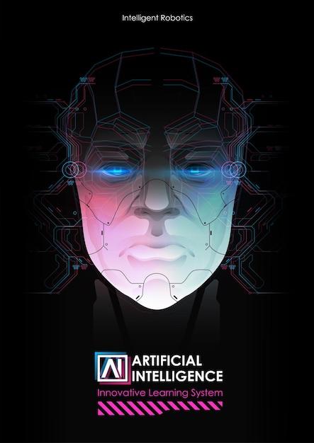 Robô com inteligência artificial trabalhando com interface virtual. Vetor Premium
