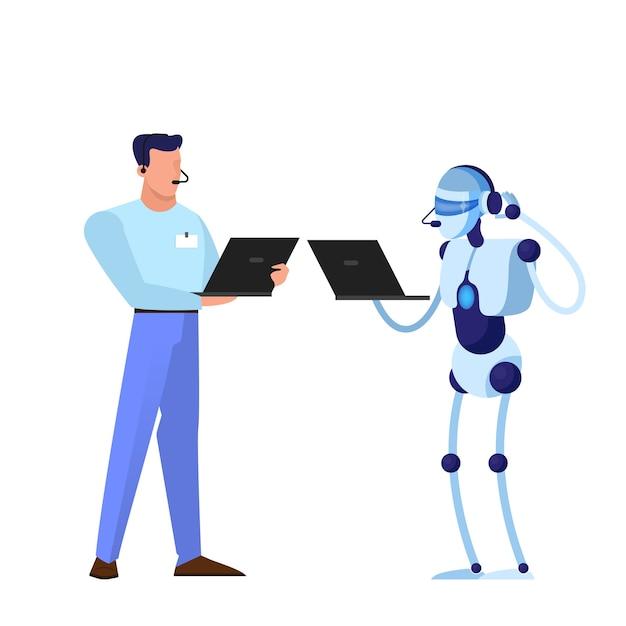 Robô como trabalhador de serviço de apoio. ideia de inteligência artificial e tecnologia futurista. personagem robótica que fornece informações valiosas ao cliente. ilustração Vetor Premium