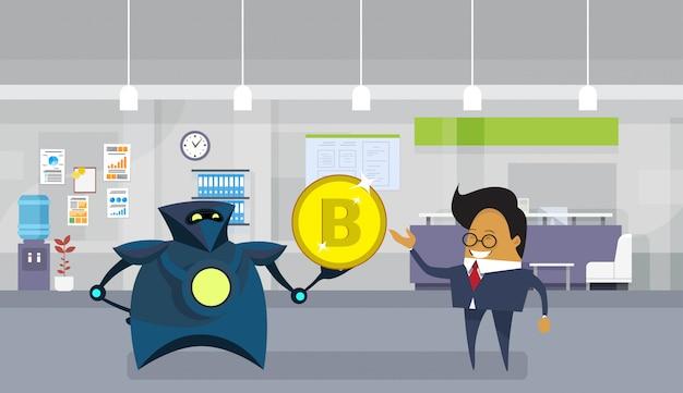 Robô dando bitcoin de homem de negócios asiáticos Vetor Premium