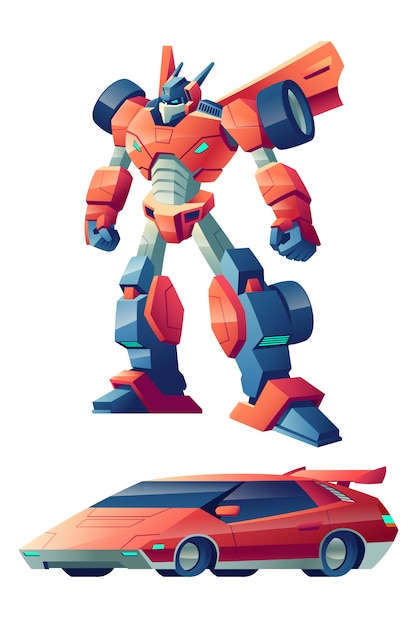 Robô de batalha vermelho capaz de transformar em desenho animado carro esporte Vetor grátis