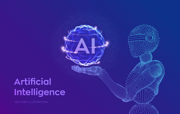 Robô de estrutura de arame. ai inteligência artificial na mão robótica. aprendizado de máquina e conceito de dominação da mente cibernética. Vetor grátis