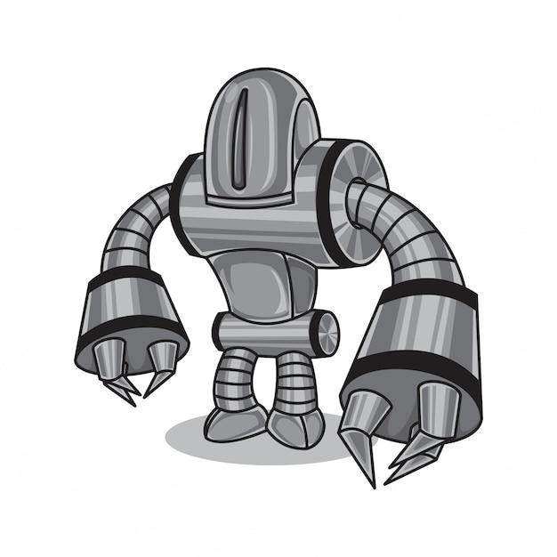 Robô de metal prateado Vetor Premium