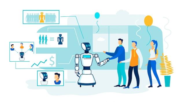 Robô de processamento de inteligência artificial. Vetor Premium