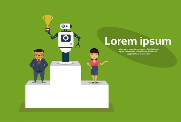 Robô de successul que está sobre o pódio dos vencedores que guarda o conceito dourado da inteligência artificial do copo Vetor Premium