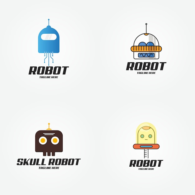 Robô de tecnologia inteligente futuro design de logotipo Vetor Premium