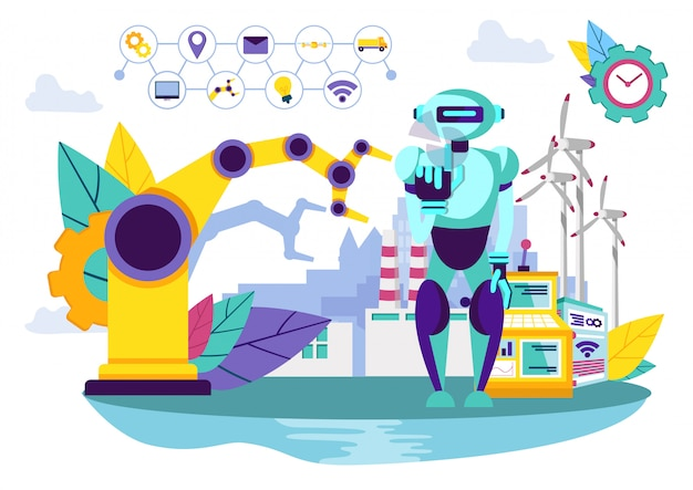 Robô e máquina industrial. Vetor Premium