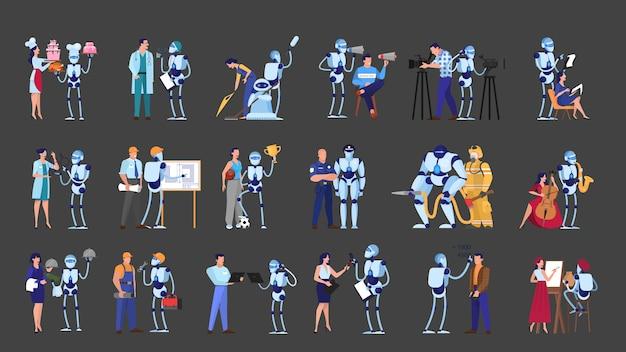 Robô e pessoas em trabalhos diferentes. ocupação comercial e culinária. tecnologia futurista, indústria robótica. ilustração Vetor Premium