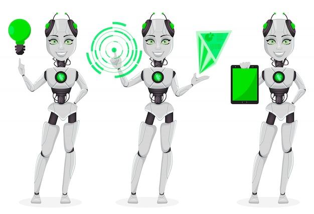 Robô feminino com inteligência artificial Vetor Premium