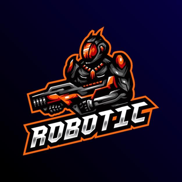 Robô mascote logotipo esport jogos ilustração Vetor Premium