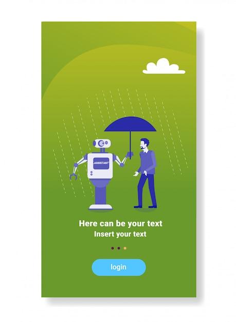 Robô moderno segurando guarda-chuva sobre empresário proteção mecanismo de inteligência artificial tecnologia assistente conceito Vetor Premium