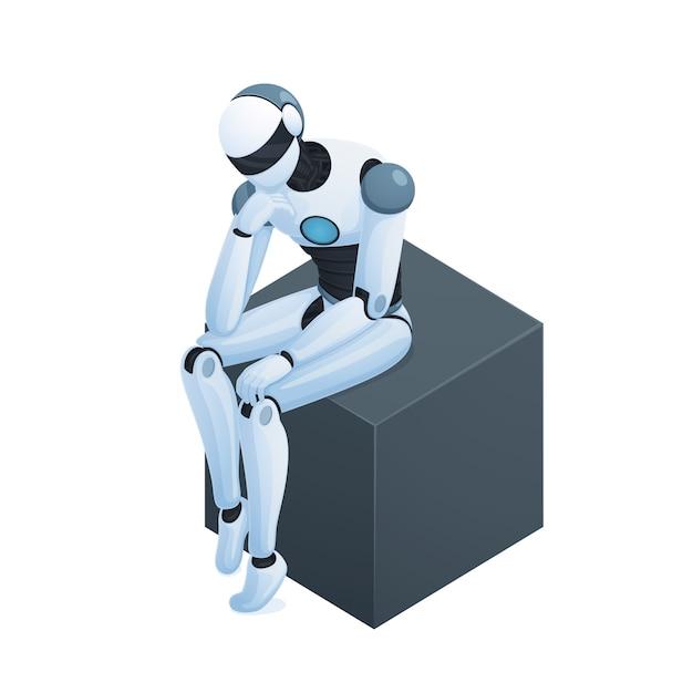 Robô pensando na composição isométrica de cubo Vetor grátis