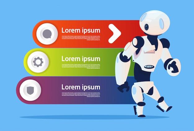 Robô sobre a tecnologia moderna da robótica de infographics do molde e o conceito da inteligência artificial Vetor Premium