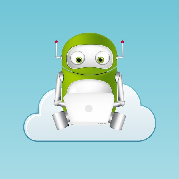 Robô verde Vetor Premium