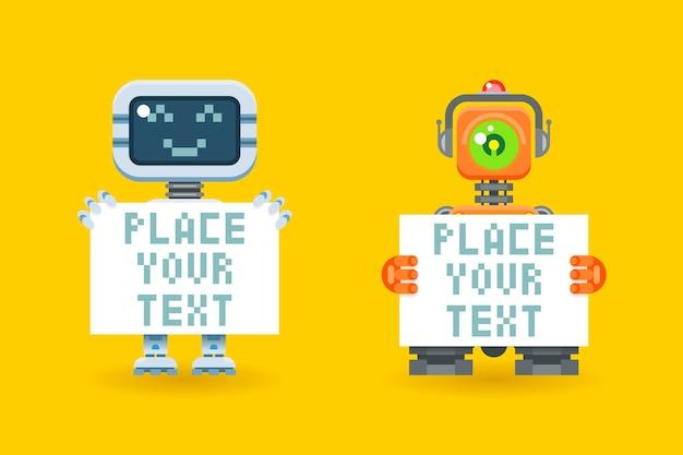 Robôs com papel em branco com lugar para texto. cyborg com placa, futurista robótico, andróide com folha Vetor grátis