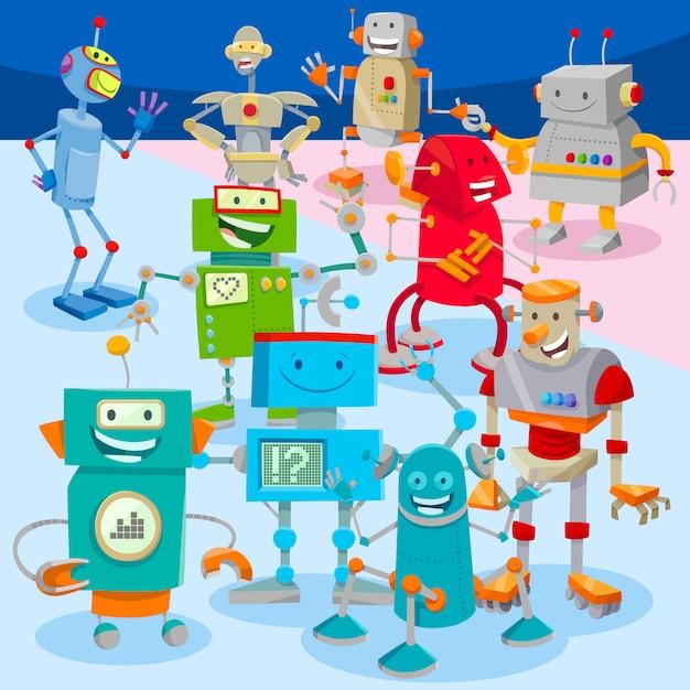 Robôs de desenho animado ou droids personagens large group Vetor Premium