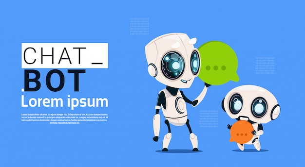 Robôs de robô de chat segurando o banner de bolha do discurso com espaço de cópia, chatter ou serviço de suporte do chatterbot Vetor Premium