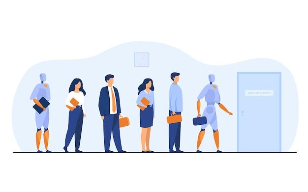 Robôs e candidatos humanos esperando na fila para uma entrevista de emprego. empresários e empresárias competindo com máquinas para contratação. ilustração vetorial para emprego, negócios, conceito de recrutamento Vetor grátis