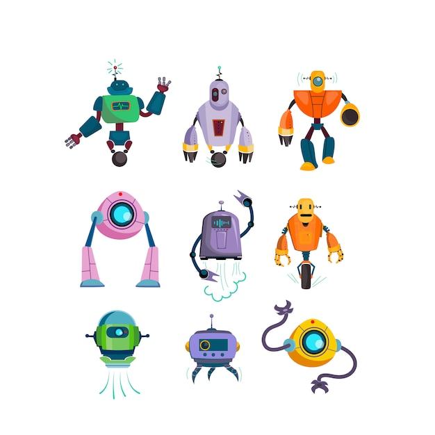 Robôs futuristas bonitos conjunto de ícones plana Vetor grátis