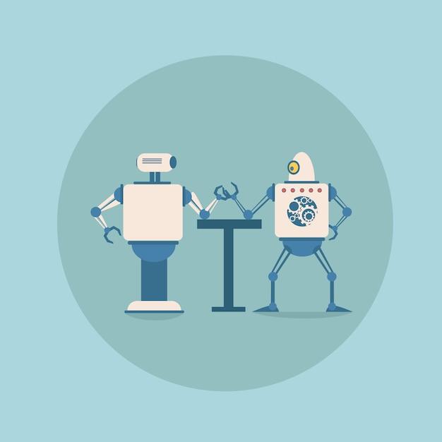 Robôs modernos, jogando o conceito de wrestling de braço futuristic artificial intelligence mechanism technology Vetor Premium