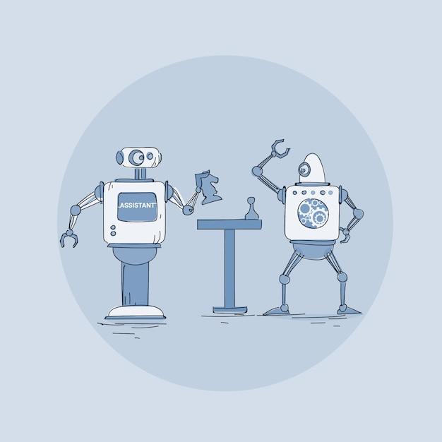 Robôs modernos, jogando o ícone de xadrez, tecnologia de mecanismo de inteligência artificial futurista Vetor Premium