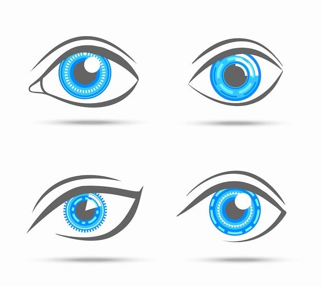 Robot cibernético decorativo, visão digital, visão, olhos ópticos, conjunto, ilustração vetorial isolada Vetor grátis
