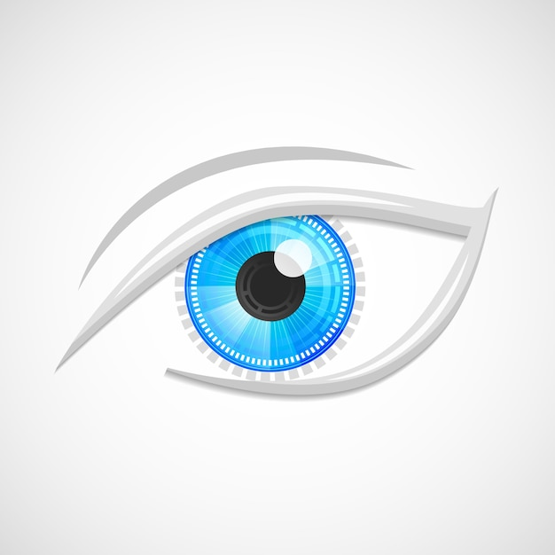 Robot cyber decorativo digital olá de alta tecnologia visão óptica emblema isolado ilustração vetorial. Vetor grátis