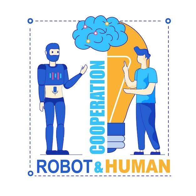 Robot e cooperação simbiótica produtiva humana Vetor Premium