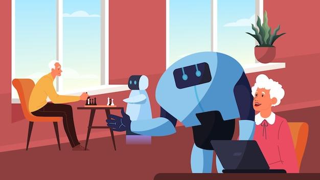 Robot gasta tempo com pessoas idosas. personagem robótica se comunica com idosos, joga xadrez e ajuda no computador. tecnologia futurista e automação. Vetor Premium