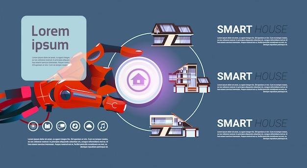 Robotic hand over smart house controlar a tecnologia de interface do conceito de automação residencial Vetor Premium